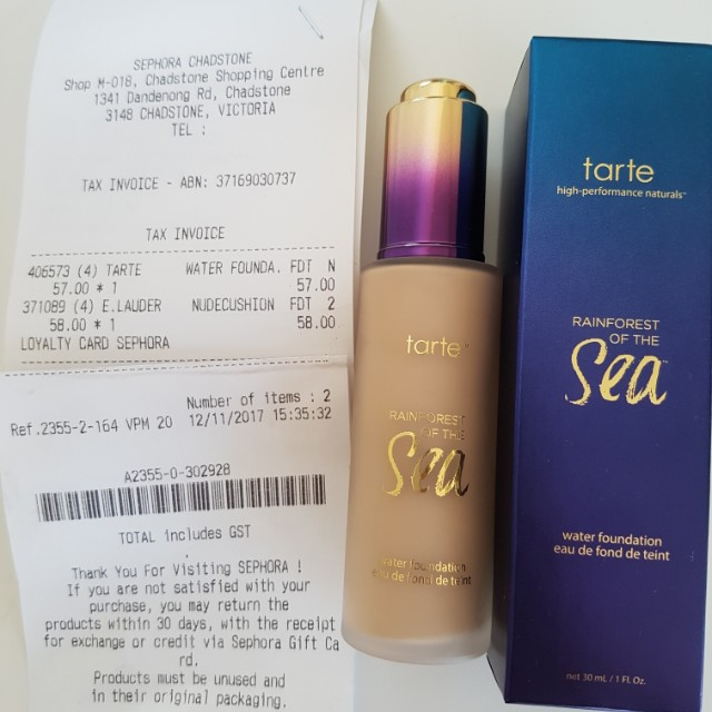 Tarte water foundation