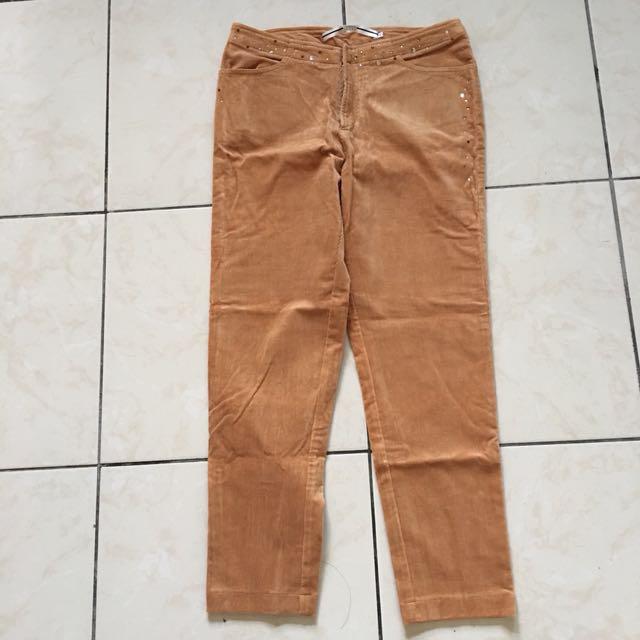 Tasidan jeans 燈芯絨長褲 橘棕色 歐洲剪裁 保暖 冬天很適合