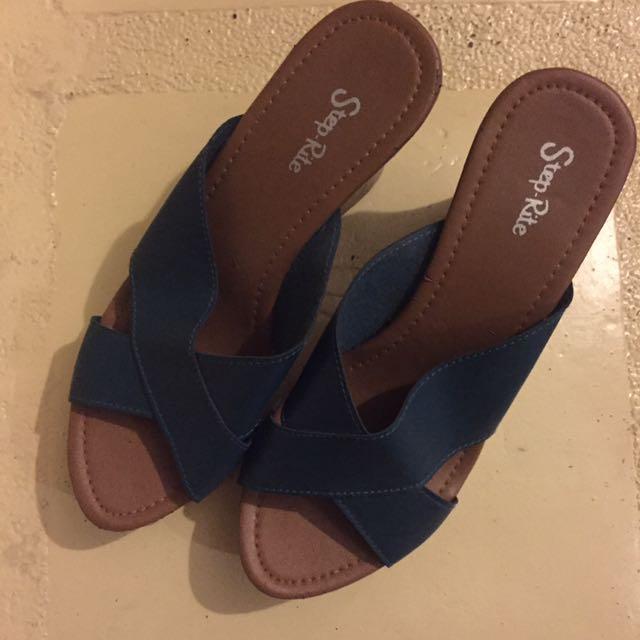 Teal Wedge Sandals