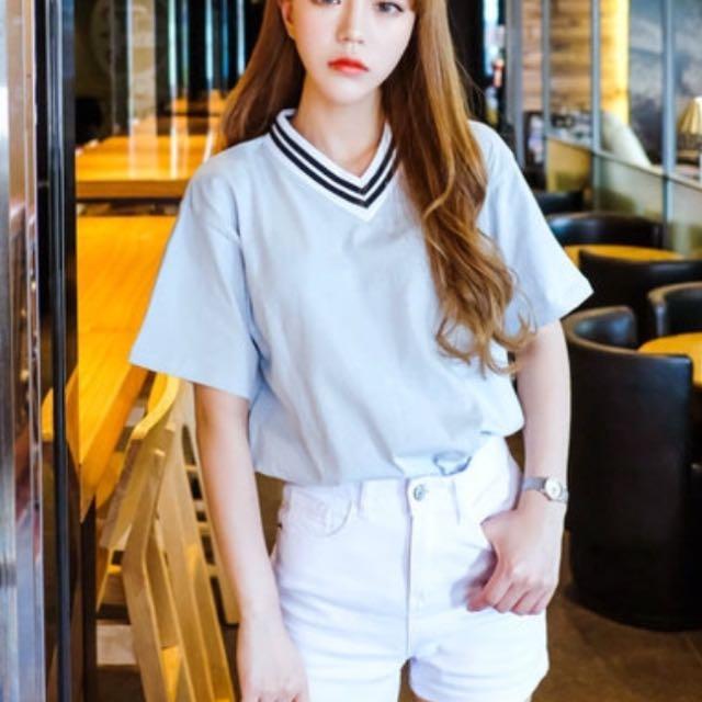 V neck striped t shirt from korea