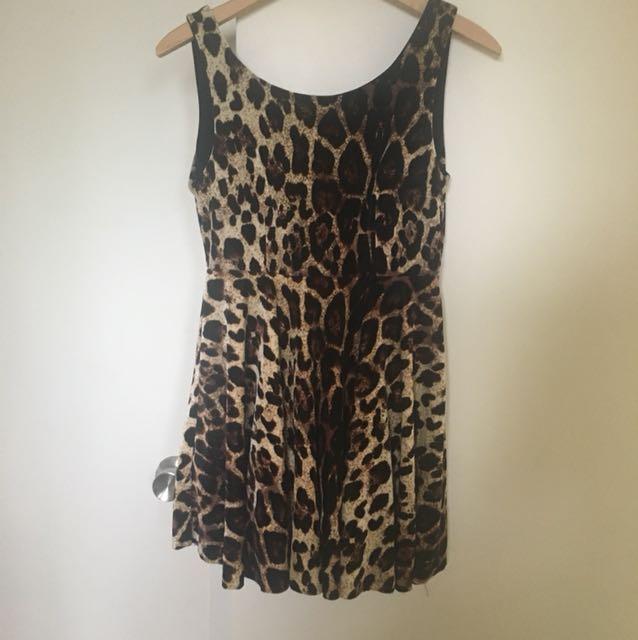 Velvet Leopard skater dress