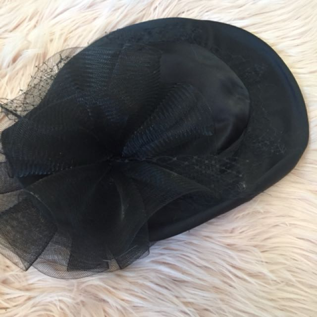 Vintage Black Tulle Satin Hat Millinery Races Cup Fascinator