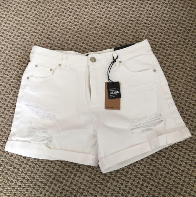 White Boyfriend Shorts