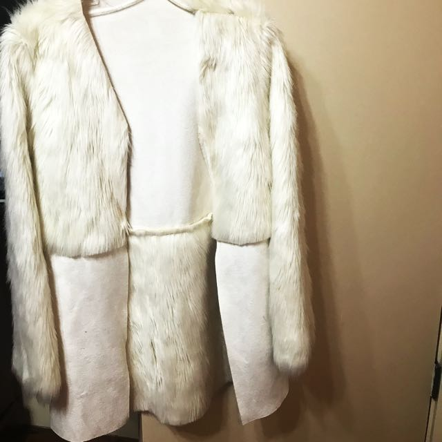 White suede and fur winter coat