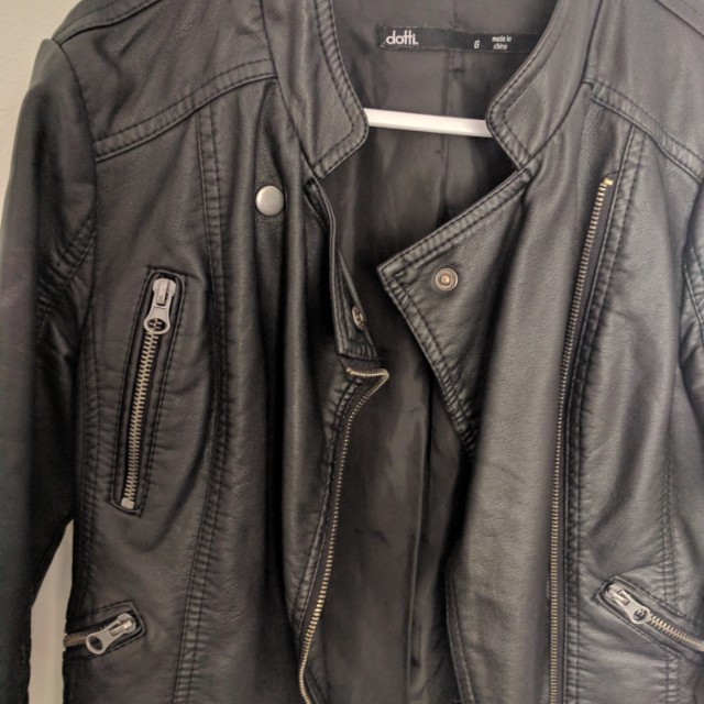 Women's size small black leather jacket from Dotti