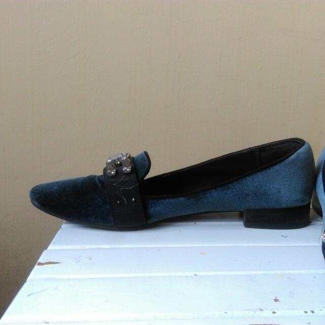 Zara Velvet Sequined Pantofel