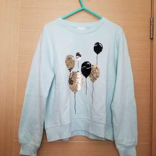 B+ab tiffany blue shinny balloon sweater