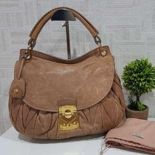 Authentic Miu Miu Matelasse Coffer Leather Quilted Tote Bag
