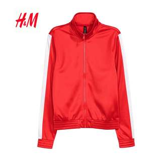 Bnwt Authentic H&M Red Xs Collared Jersey Track Blazer Cardigan Coat Jacket