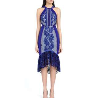 New Keepsake the Label Blue Flame Lace Midi Dress