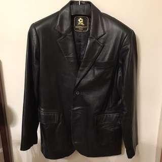 🚚 MONTAGUT 法國品牌 黑色 全皮 西裝外套 夾克