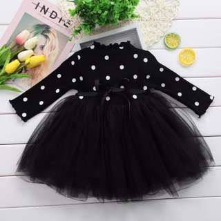 Black, White, Pink Girls Princess Baby Dress