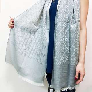 全新Gucci頸巾(灰色)