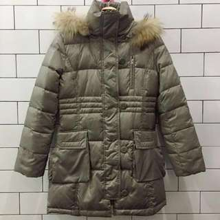 Green Army Puffer Jacket Coat