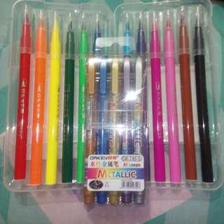 Brush Pens (12 pcs) & Metallic Markers set