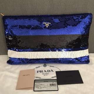 PRADA Pailettes Oversized Clutch Bag