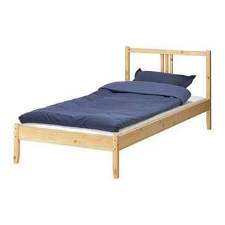 Ikea FJELLSE Single Bed frame, pine, Luröy,90x200 cm / Katil Single
