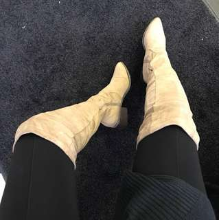 Cream thigh high boots size 8