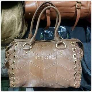 MIU MIU Brown lambskin patchwork quilted gold tote duffel bag