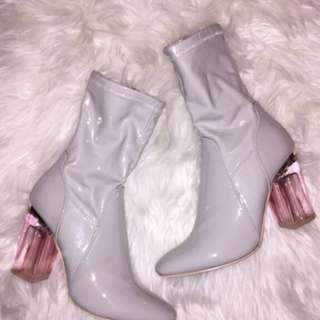 Patent White Leather Boots size 7