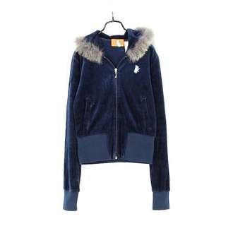 國【JUICY COUTURE】寶藍色拼兔毛連帽休閒外套