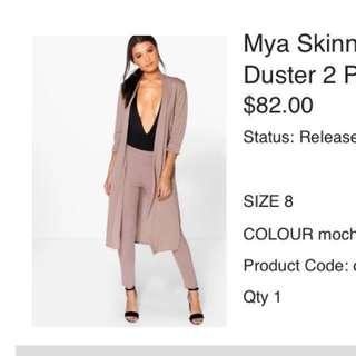 Mocha Trouser & Duster 2-piece set