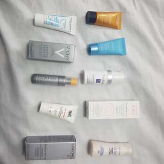 Assorted sample size skin care products