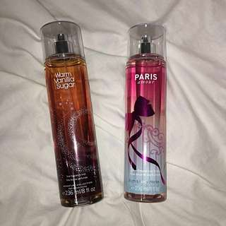 Full Size Bath and Body Works Fragrance Mists Warm Vanilla Sugar and Paris Amour