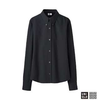 UNIQLO UUUU women's black long sleeve oxford compact shirt, xs