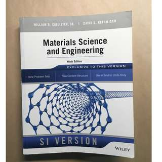 Materials Science and Engineering 9 edition 工程材料