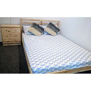 TARVA queen bed frame and chest of drawers