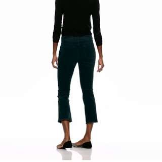 Black Corduroy Cropped Flare Pants