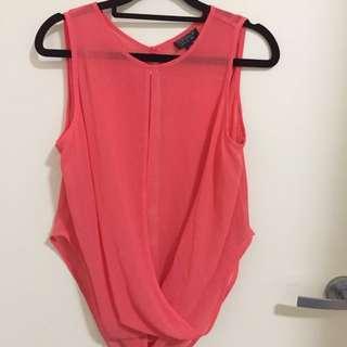 Topshop salmon pink sheer drape top UK 6