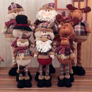 聖誕節裝飾/雪人/麋鹿/聖誕老公公/可伸縮拉長/櫥窗擺飾/全新現貨