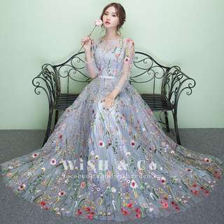 Floral Embroidery See Through Mesh Maxi Dress with Quarter Sleeves KW001 - Grey