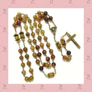 Kalung rosario batu snakeskin agate 8mm dg ornamen bronze & aksen golden