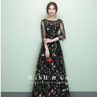 Floral Embroidery See Through Mesh Maxi Dress with Quarter Sleeves KW001 - Black