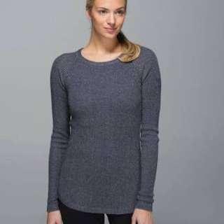Lululemon cabin yogi bamboo charcoal sweater, size 4