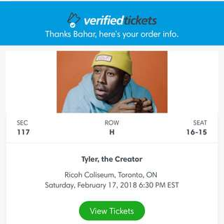 TWO Tyler the Creator tickets