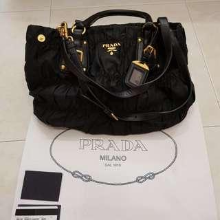 88ce17d505b2 PRADABlack Gaufre Tessuto Nylon Shopping Tote Bag BN1792