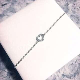 New Unused Authentic Heart CZ Pandora Bracelet 18cm