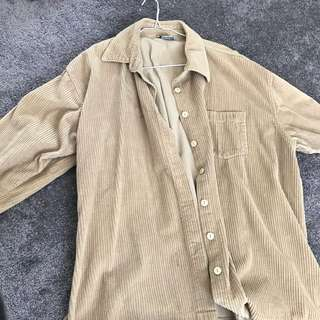 Over size cord beige jacket