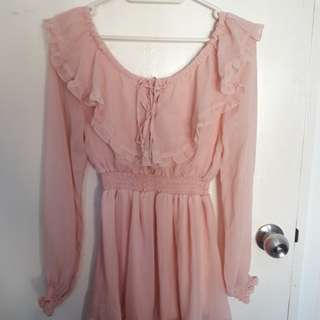 Pink long sleeves blouse/dress