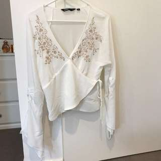 Sportsgirl wrap boho top with embroidery