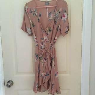 Asos nude floral wrap dress 10