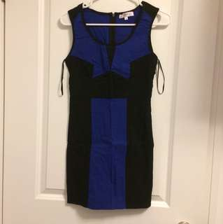 Blue and black dress