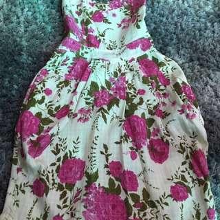 Pink Floral Tube Dress