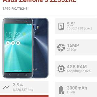Used Zenfone 3 552KL 4gb ram / 64 gb space with manufacturer warranty till 7th Jan 2018