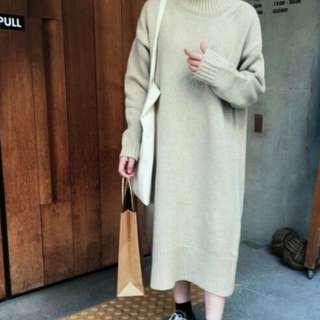 厚針織連身洋裝(米色)F