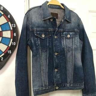🚚 (免運)Gap深藍刷色牛仔外套,S號附近可參考,內標XS號,購入價2490